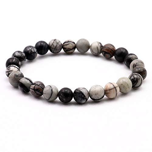 (FOKLC Bracelet Natural Gray Web Stone Bracelet Stone Charm Men Bracelets Elasticity Rope Bangle)