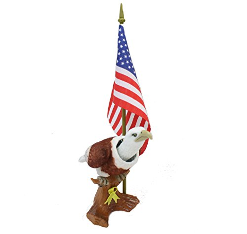 Batty Bargains Patriotic Bobblehead Eagle with Car Dashboard Adhesive and American Flag ()