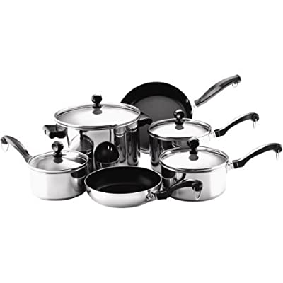 Farberware Classic Series Stainless Steel Tonals Nonstick 10-Piece Cookware Set, Silver/Gray