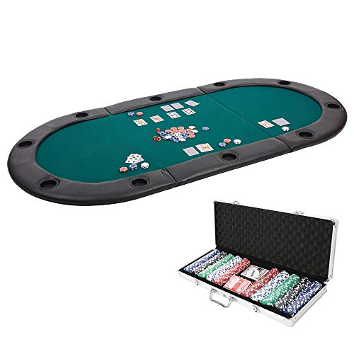 (Dporticus 10 Players Tri-Fold Poker Game Table Top with Cushioned Rail and Cup Holders Equipped with Poker Set)