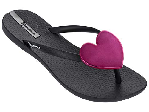 Ipanema Womens Wave Heart Flip Flop Sandals, Black/Black/Red, 5