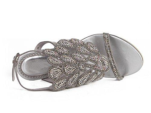 Donna 35 3 Patterned ZPL UK Silver EUR signore sandali Pavone Nozze Le Tacco Strass fine nuziale Ballo mano Sera di medio a anno fatto FwSqg1dx