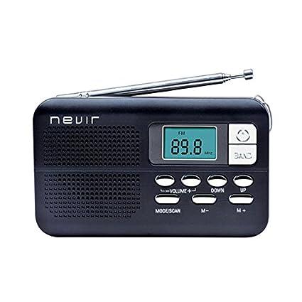 Nevir NVR-127DNEGRO - Radio reloj digital de bolsillo (con alarma, correa de