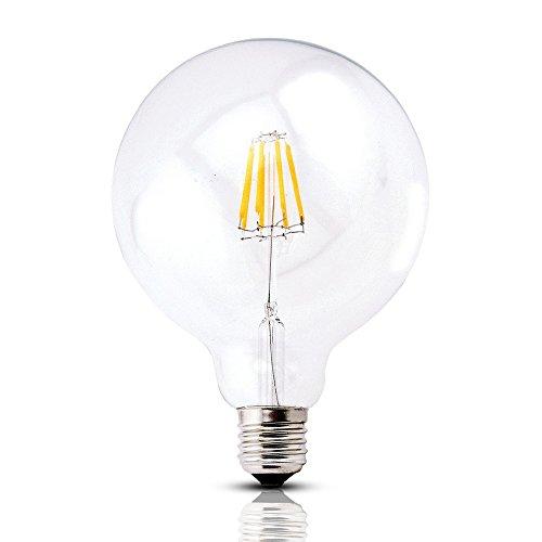 (Bonlux Vintage Dimmable LED Filament Bulb G40-8W LED Light Bulb G125, Medium Screw E26 Base, Clear Warm White 2700K, LED Edison Bulb 75 Watt Incandescent Replacement)