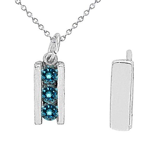 0.25 Carat Blue Diamond 3 Three Stone Channel Slider Pendant Necklace With 18