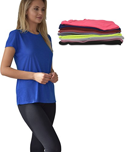 Women's 10 Pack Everyday Flowy Burnout Slub Active Workout Crew T Shirt (10 Pack-Solids Pack A, XXX-Large)