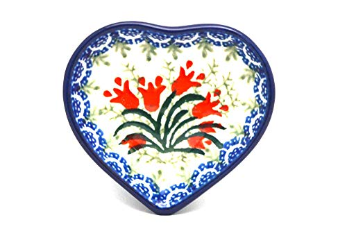Polish Pottery Tea Bag Holder - Heart - Crimson Bells