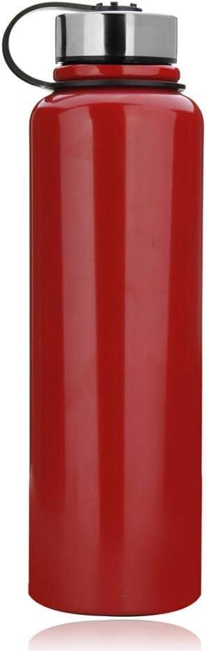 Botella de agua de acero inoxidable de 1,5 l, botella de agua deportiva sin fugas, botella de agua para correr, gimnasio, ciclismo, múltiples especificaciones, color rosso, tamaño 1.5L