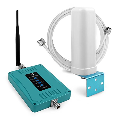 700/850/1700/1900 MHz Cell Phone Booster Signal Amplifier with Omni-directional Antennas for All Carriers GSM/CDMA/4G LTE, Coverage Area up to 3,200 Sq.ft.