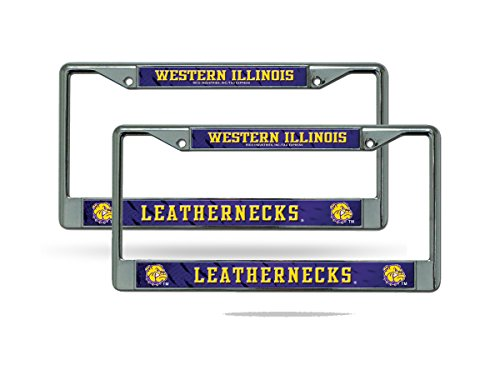 Rico Western Illinois Leathernecks NCAA Chrome Metal (Set of 2) License Plate Frame Set
