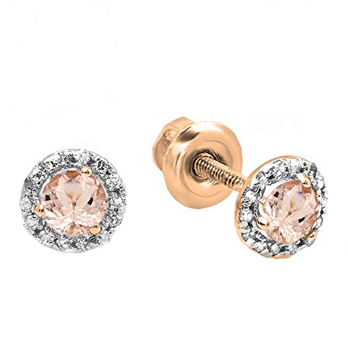 Dazzlingrock Collection 14K Round Morganite White Diamond Ladies Halo Style Stud Earrings, Rose Gold