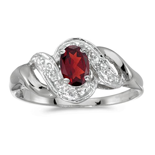 Jewels By Lux 14k White Gold Genuine Red Birthstone Solitaire Oval Garnet And Diamond Swirl Wedding Engagement Ring - Size 9 (0.47 Cttw.)