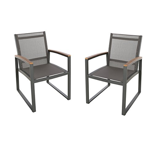 (Great Deal Furniture Aubrey Outdoor Mesh Dining Chairs with Aluminum Frame (Set of 2), Gray)