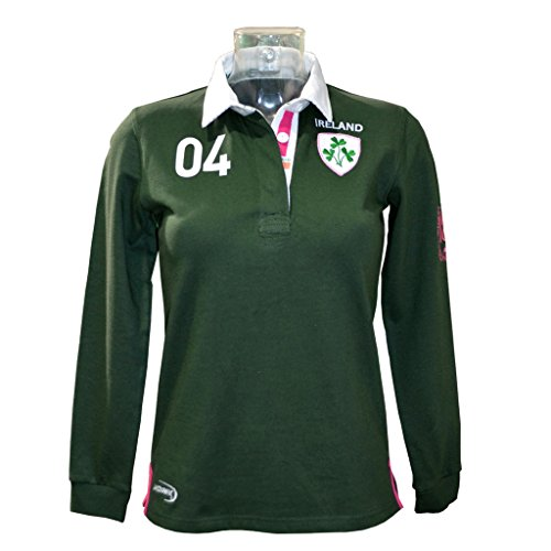 Jersey Long Sleeve Rugby (Green Ireland 3 Shamrock Ladies Long Sleeve Rugby Shirt-Large)