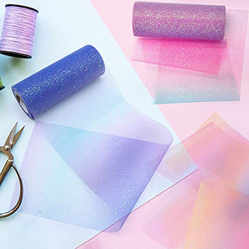 VGOODALL Rainbow Glitter Tulle Rolls, Shimmer Color Assortment Ribbon for Table Runner, Baby Shower Sash Bow Tutu Skirt Sewing Crafting Fabric Wedding Unicorn Christmas Party Gift Ribbon