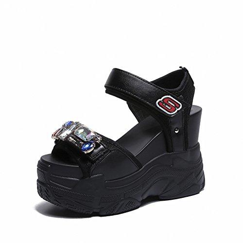 Suela Sandalias Comodidad Para black Mujer Salvaje Sandalias De Mujer Moda Verano Chanclas WHLShoes De Gruesa Informal Deportes Y wTXxat0