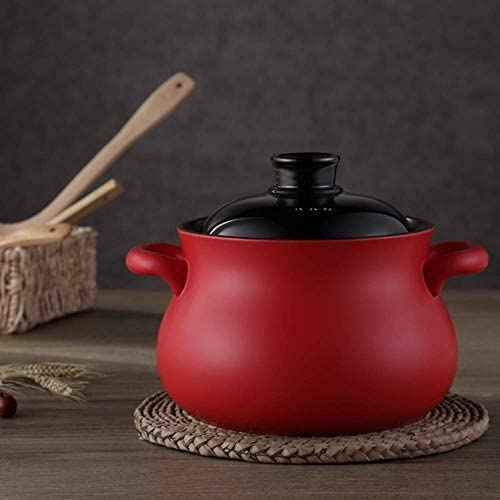 LIUSHI Pot à Soupe antiadhésif de Grande capacité Pot d'argile santé Pot Familial en grès cuiseur à Riz en céramique ragoût Rond Casserole en céramique avec Couvercle B 5l