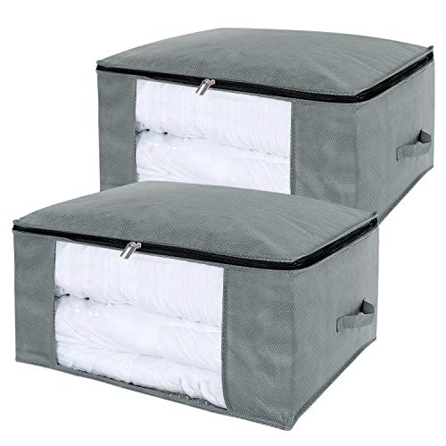 Bedding Comforter Blanket - Lifewit 100L Large Capacity Clothing Storage Bag with Clear Window for Comforters, Blankets, Bedding, Duvets, Clothes, Quilts, Pillows, Sweaters, Set of 2, Grey