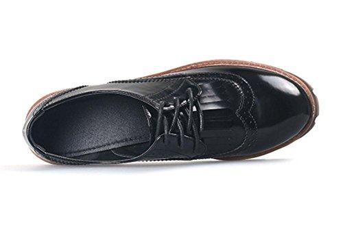 printemps UK4 croûte CN37 bouche chaussures chaussures et EU37 5 d'automne 5 US6 en Mme simples Mme une épaisse ceinture 5 chaussures 7 Département profonde femmes épais avec cuir qpp8wnXS