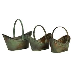 Three Piece Leva Verdigris Flower Bucket Set in Copper