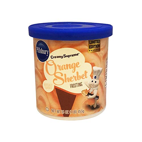 Pillsbury Creamy Supreme Orange Sherbet Frosting 16 Ounce! Orange Flavor Creamy Frosting! Easy To Use, Tasty and Sweet! Perfect For Your Homemade Cookies, Cupcakes And Cake!