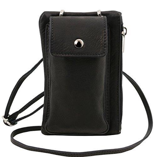 Tuscany Leather TL Bag - Bolsillo Porta móvil en piel suave Negro Bolsos en piel Negro