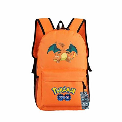 ZFX 600D Oxford Anime Pocket Monsters Special Pokémon Pikachu Gengar Students Backpacks Shoulder Bags Schoolbag Orange Charizard]()