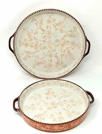 Temp-tations Set of 2 Pizza Deep Dish w/Handles Tart Pan or Shallow Pie/Quiche 11