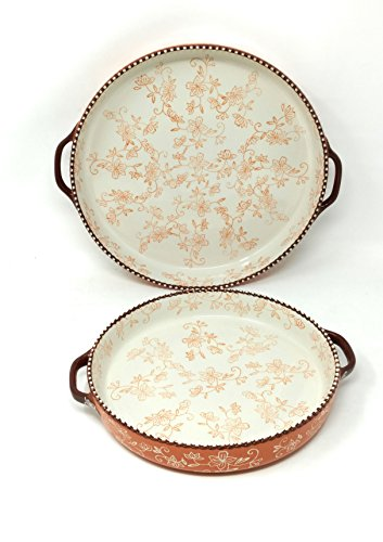 Old World Ceramic - Temp-tations Set of 2 Pizza Deep Dish w/Handles Tart Pan or Shallow Pie/Quiche 11