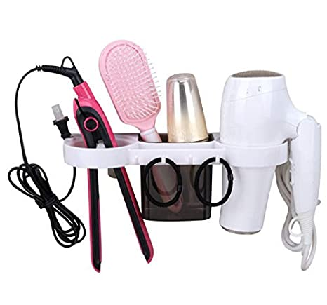 Flat Iron Curling Wand Sunlit 3 in 1 Wall Mount//Countertop//Over Cabinet Door Metal Wire Hair Product /& Styling Tool Organizer Storage Basket Holder for Hair Dryer Hair Straightener Black Brushes