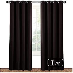 NICETOWN Blackout Room Darkening Curtain Panel - (Toffee Brown Color) Window Treatment Panel for Home Theater, Noise Rducing Drape/Drapery, 52 Inch Wide by 84 Inch Long, One Piece