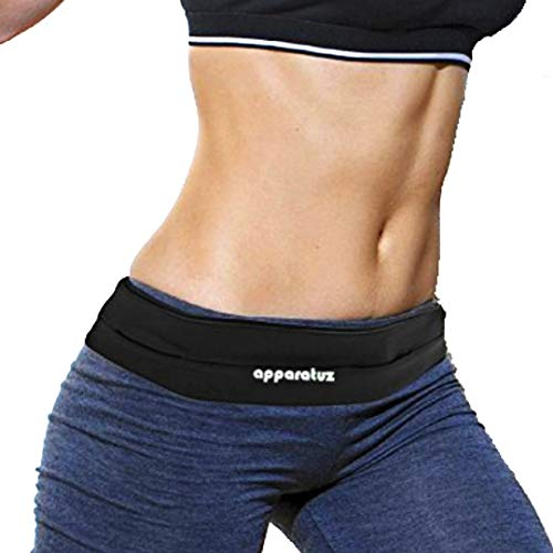 Runners Belt For iPhone x, 7, 8 Plus. Stylish Adjustable Running Belt. Used as Discreet Waist Pack / Fanny Packs, Perfect Cell Phone Holder. Flat Comfortable Sweatproof Band, Versatile Hip Bag To Wear