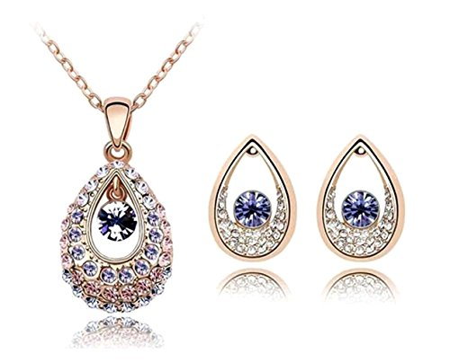 KATGI Fashion Austrian Crystal Angel Teardrop Pendant Necklace & Earrings (Set of 2) Austrian Crystal Angel Necklace