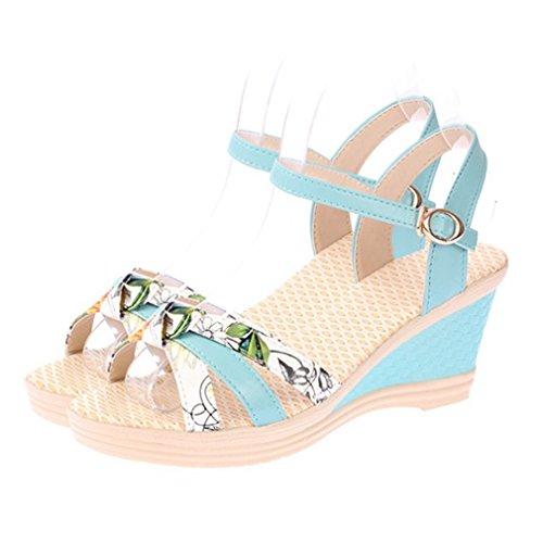 Cybling Sandalias De Plataforma De Cuña De Punta Abierta De Moda De Verano Para Mujer Zapatos De Playa Correa Azul