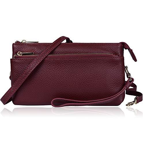 Befen Women Full Grain Leather Tripple Zip Crossbody Bag Crossbody Cell Phone Wallet Purse Bag Phone Wristlet (A-burgundy Large)