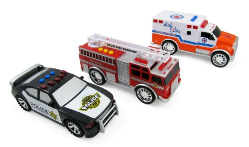3-in-1 Emergency Vehicle Toy PlaySet for Kids w/ Lights and Sounds (Fire Truck, Police Car, Ambulance) (Ambulance Police)