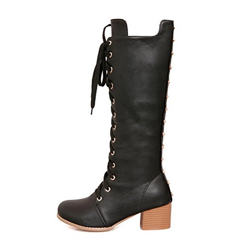 AgooLar Women's PU High-top Solid Lace-up Kitten-Heels Boots Black ZnybDy