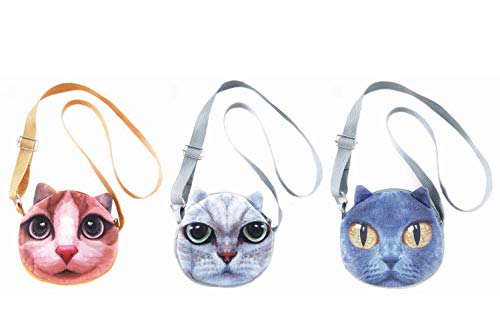 3 PCS Cute Animal Face Crossbody Shoulder Bags Set for Girls, Teens, Tween and Women - Photorealistic Vivid 3D Printed Faces - Zipper Closure