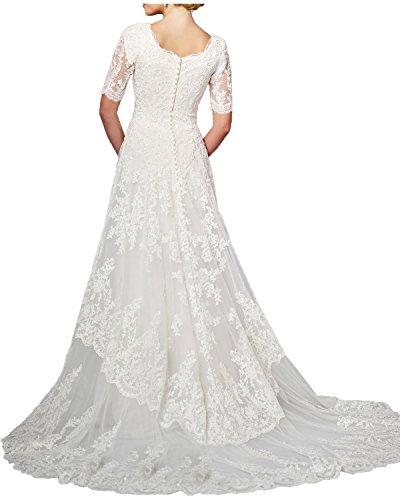 MILANO BRIDE Modest Wedding Dress For Bride White Round-Neck Sleeves Applique