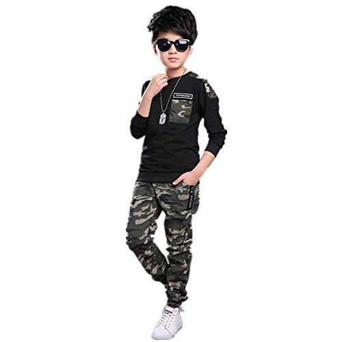 FTSUCQ Boys Camo Pullover Sports Tracksuits Sweatershirt Coat Top + Pants,Black - Little Centers In Rock Shopping