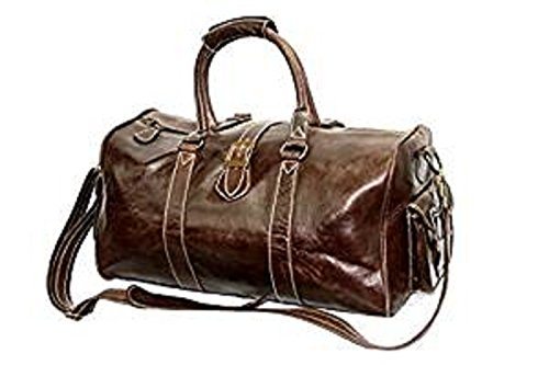 Marrone smalto nascondere, weekend, viaggi, sport, palestra, di medie dimensioni, Air Cabin approved borsa in vera pelle