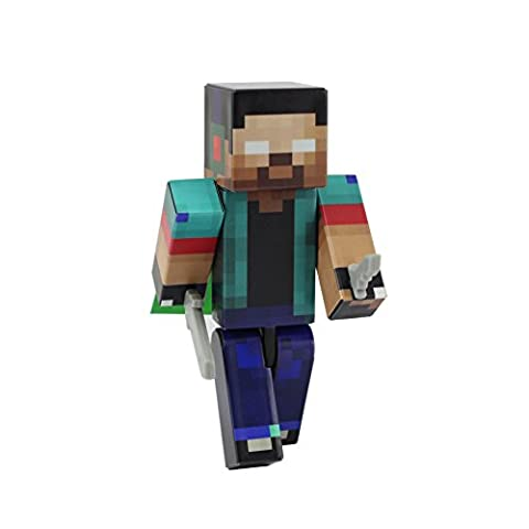Herobrine Boy Action Figure Toy, 4 Inch Custom Series Figurines by EnderToys [Not an official Minecraft (Mini Mine Craft Characters)