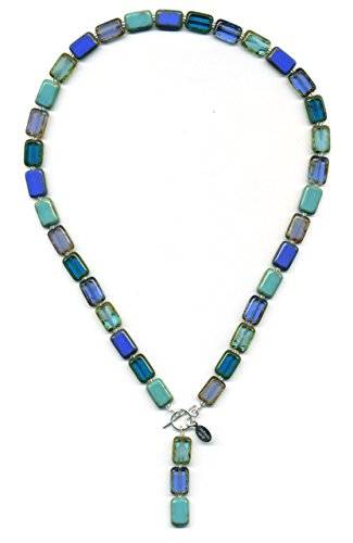"18"" Long Beaded Necklace in Ocean Mix, Pendant Necklace With Glass Tile Beads, 2 Ways to Wear, Sterling Silver"