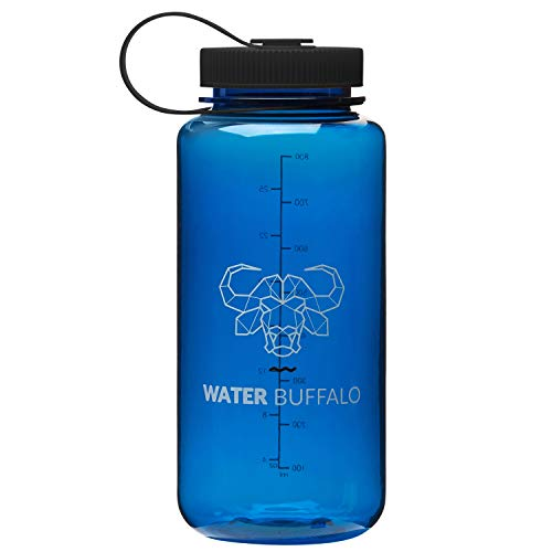 Water Buffalo Eco Friendly Water Bottle - Widemouth Tritan BPA Free Water Bottle 32 Ounce - Small Water Bottle with Measurements for Every Day Use, and Non-Toxic Hydration (Dark Blue/Black)
