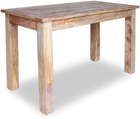 vidaXL Solid Reclaimed Wood Dining Table 47.2″ Rustic Dining Room Furniture