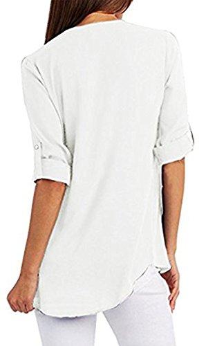 Shirt Cou Lache Taille Tops Grande Zipper V Blanc Femme Chiffon BLACKMYTH Chemisier n4805wtv4q
