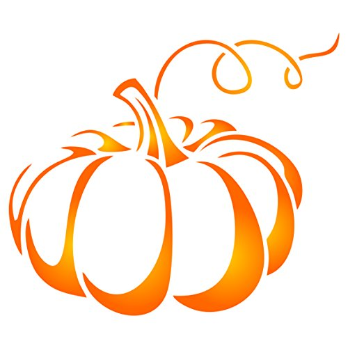 Halloween Pumpkin Stencil - 5.25 x 4.5 inch (M) - Reusable Holiday Thanksgiving Vegetable HALLOWEEN Wall Stencils for Painting - Use on Paper Projects Walls Floors Fabric Furniture Glass Wood etc. -