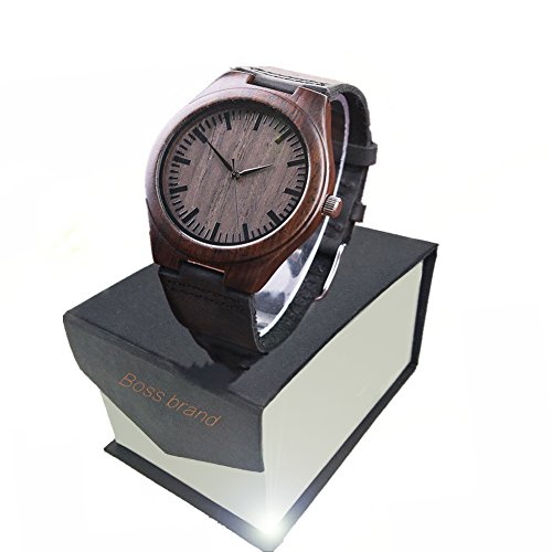 - Bamboo Wooden Watch, Wood Grain Genuine Leather Strap with Japanese Quartz Movement Men's Casual Watches (gray)