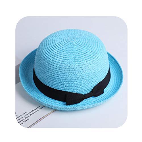 (Lady Boater Sun Caps Ribbon Round Flat Top Straw Fedora Panama Hat,Dome Blue,Child Size 52-54Cm)