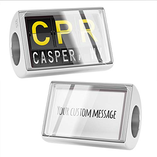 NEONBLOND Custom Charm CPR Airport Code for Casper, WY 925 Sterling Silver Bead